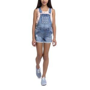 Girls Size: 7/8 Crochet Denim Overall Shorts NWT
